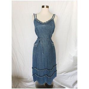 { vintage } denim ruffle midi jumper dress